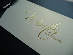 Ivory & Gold Winter Wedding themed Wedding invitation - cheque book style cover