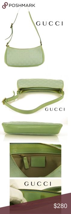 GUCCI- Authentic Monogram Shoulder Bag Authentic Gucci Bag. combination of light blue and turqoise green from Gucci. This bag that it is made from blue monogram fabric and green patent leather, it is decorated with gold tone hardware, shoulder strap with buckle detail and zipper pull top closure. The lined interior features a zipper pocket and leather logo and authenticity tag.   🚫 Trades. 🚫 Outside Transactions.                 Note: to protect myself and you I will film…