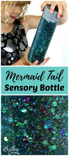 Learn how to make your own glittering mermaid tail sensory bottle! Calm down discovery jars like this glitter sensory bottle can be used for portable no mess safe sensory play, calming an overwhelmed child, and helping children learn to self-regulate. Sensory Bins, Sensory Play, Sensory Boards, Sensory Bottles For Toddlers, Autism Sensory, Sensory Activities For Preschoolers, Disney Activities, Outdoor Activities For Kids, Baby Sensory