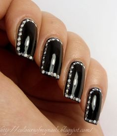 Black Gloss Nails White Silver polka dots outlined nails easy free hand nail art