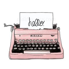 Pink Retro Typing Machine - Printable Digital Illustration for Transfer Prints - Clipart ( 8x10), for DOWNLOAD. Item No.T0001 #Illustrations