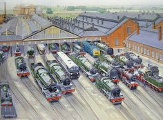 """""""Western reunion by artist Frederick Lea. Locos ancient and modern in an impossible situation. Diesel Locomotive, Steam Locomotive, Transport Pictures, Uk Rail, Train Posters, Steam Railway, Train Art, British Rail, Old Trains"""