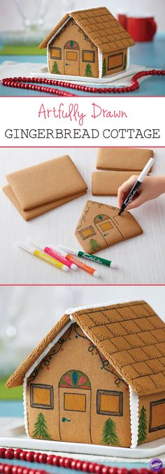 Artfully Drawn Gingerbread Cottage - Use edible FoodWriters to draw on your gingerbread house instead of decorating it with icing and candies for a unique and artistic look!