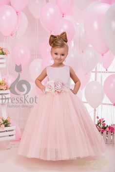 2305f3cb49af6 Flower girl dress, pink flower girl dress, Junior bridesmaid dress, boho flower  girl