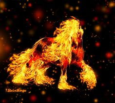 A Clydesdale that's on fire