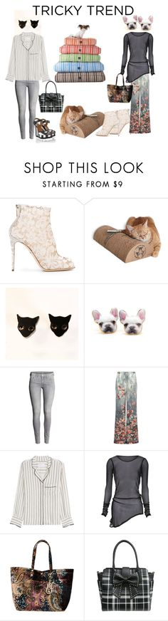 """Cats & Dogs Pajamas"" by pampire ❤ liked on Polyvore featuring Dolce&Gabbana, Alberta Ferretti, Zadig & Voltaire, La Fille Des Fleurs, Betsey Johnson, TrickyTrend and daytimepajamas"