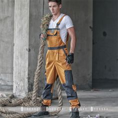 2016 HOT Brand Discount Work Wear Bib Pants Mens Plus Size Tooling Uniform Jumpsuits Loose Casual Overalls Plus Size :M-Xxxl Overalls Plus Size, Work Overalls, Plus Size Jumpsuit, Romper Men, Romper Pants, Mechanic Overalls, Security Uniforms, Safety Clothing, Work Uniforms
