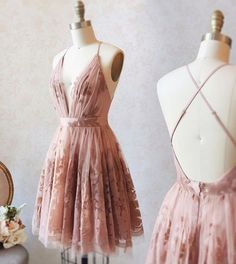 A Line Deep V Neck Pink Homecoming Dress With Lace - fashion pink short homecoming dresses formal short dresses for teens cheap a line hocodresses dressywomen pink lace backtoschool Source by fly freeTM - Hoco Dresses, Dance Dresses, Pretty Dresses, Beautiful Dresses, Sexy Dresses, Prom Outfits, Summer Dresses, Pink Dresses, Wedding Dresses