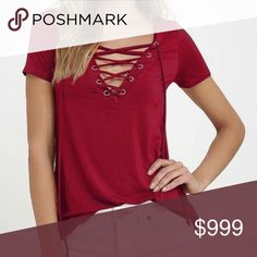💋COMING SOON💋Wine Lace Up Top NWT Wine Lace Up Tee Tops Tees - Short Sleeve
