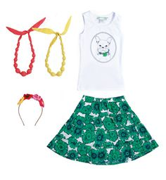 Grrrrrl Power 4-Piece Starter Wardrobe There's plenty of grrrr in this girl power collection. It's hard not to take a girl seriously with a French bull dog emblazoned on her chest. Pairs with lined green & navy ruffle skirt in soft cotton lawn fabric. Comes with flower wreath headband & pair of bright necklaces in red & yellow.   In this Collection: @༺ ❤ ༻ Yvonne Maisonette-Laboy༺ ❤ ༻, @Brittany Nicole Kids Kids, Little Twin Stars