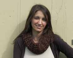 Lion Brand Wool Ease Multicolor Copper, Brown, Black, and Gray Knitted Cowl Scarf  by ArtTx, $30.00
