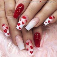 Valentine's Day Nail Designs, Acrylic Nail Designs, Nails Design, Acrylic Art, Heart Nail Designs, Best Nail Art Designs, Cute Nails, Pretty Nails, Gorgeous Nails