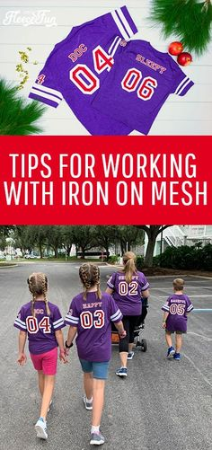"Learn the tips for working with Iron on Mesh! This fun product gives a cute ""Sports Jersey"" look, but has a few tricky things to watch out for. #cricutcreated #disneytshirtideas #cricutmade #HTV Craft Projects For Adults, Sewing Projects For Beginners, Fun Projects, Craft Tutorials, Craft Ideas, Silhouette Machine, Sporty Look, Vinyl Crafts, Heat Transfer Vinyl"