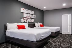 A funky, modern Hotel located in Pasadena with cabinetry by Bauformat USA.