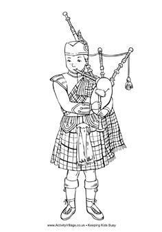 Scottish piper colouring page