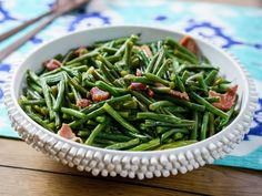 """Southern Green Beans (Trisha's FAN-tastic Favorites) - Trisha Yearwood, """"Trisha's Southern Kitchen"""" on the Food Network. Ham And Green Beans, Southern Green Beans, Southern Greens, Food Network/trisha, Food Dishes, Green Bean Recipes, Vegetable Recipes, Food Network Trisha Yearwood, Trisha's Southern Kitchen"""