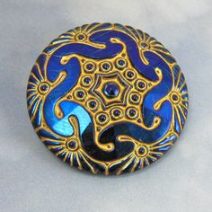 Blue Glass Button 1 3/4 iridescent carnival glass