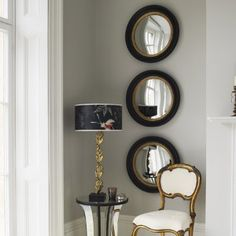 3 Round Mirrors Wall Mirror With Shelf Small Contemporary