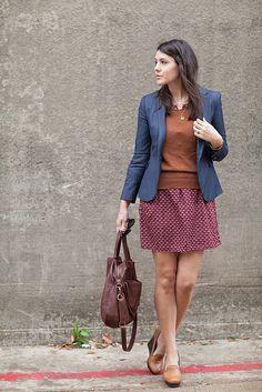 Try blue blazer with polka dot sweater.