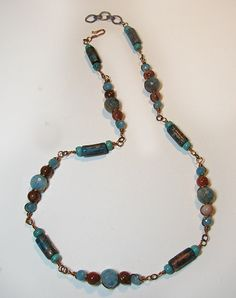 necklace/bracelet pattern - patinaed copper - how to make beads from copper tubing