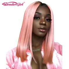 Ombre Pink Color Lace Front Human Hair Wig with Baby Hair Pre-Plucked Hairline Remy Hair Brazilian Body Wave Glueless Wig Short Bob Wigs, Short Hair Wigs, Short Straight Hair, Ombre Wigs, Ombre Hair, Pink Hair, Blonde Lace Front Wigs, Bob Lace Front Wigs, Wig Hairstyles