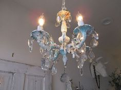 Petite chandelier lighting shabby cottage chic by AnitaSperoDesign