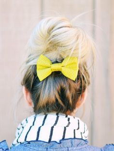 I love buns and hair bows and this bright yellow one is awesome for a pop of color in any outfit Dream Hair, Cute Bows, Pretty Hairstyles, Latest Hairstyles, Fall Hair, Hair Day, Cut And Color, Hair Inspiration, Hair Inspo