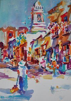Watercolor by Roger Parent, San Miguel de Allende, Mexico, Exhibited Florida Watercolor Society Annual 2014