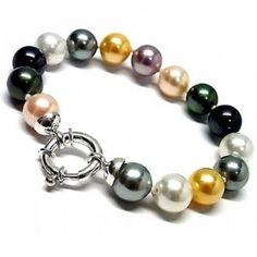 Pulsera de plata de primera ley con 15 perlas shell de colores