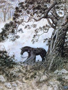 Black Rider by Inger Edelfeldt  found on Tolkien Gateway
