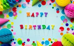 Download wallpapers Happy Birthday, candles, inscription, holiday decorations, Birthday
