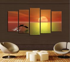 5 panels(No Frame)Dolphin Seaview Modern Home Wall Decor Painting Canvas Art HD Print Painting Canvas Picture For Home Decor $17.73