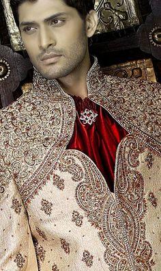 Indian style : Red, Gold & Maroon Mens Sherwani Wedding Suit
