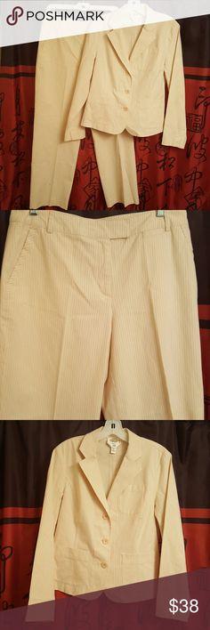 Beautiful Talbots pant suit NWOT Cream, pinstripe, cotton & spandex, NWOT, size 10 Talbots Pants