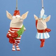 Club Pack of 12 Olivia the Pig Band Leader Boy and Girl Christmas Ornaments 3.5""