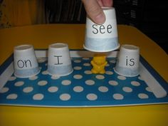 Where's the bear? Sight word practice.  I think this would be a great game for tutoring!