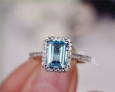 Natural Sky Blue Topaz Ring Emerald Cut Topaz by CarrieStudio