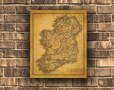 Old Map Of Ireland Vintage Wall Art Canvas print by GRAPHICNADO