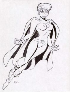 Bruce Timm - Powergirl Drawing, in Wallace Harrington's Power Girl Comic Art Gallery Room Bruce Timm, Marvel Comic Books, Comic Book Heroes, Comic Books Art, Comic Character, Character Design, Character Poses, Superman Characters, Arte Dc Comics