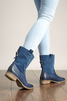 Navy leather & suede boots with back buckles