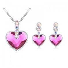 Women's Fashion Heart Crystals from Swarovski Colorful Rhinestone Necklace Pendant Drop Earrings Swarovski Elements Jewelry Set