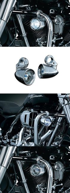 motorcycle parts: Kuryakyn 5019 - Chrome Engine Guard Lights For Harley Touring For 1 1 4 Bar -> BUY IT NOW ONLY: $206.99 on eBay!