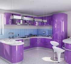 secrets about purple kitchen cabinets 2019 and purple kitchen accessories. We will also tell you about the trends purple kitchen ideas and its combination such as purple and white kitchen decor. Purple Home, Interior Design, Design Your Kitchen, New Kitchen, Kitchen 2016, Kitchen Paint, Kitchen Interior, Kitchen Decor, Shabby Chic Kitchen