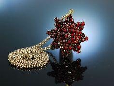 Karfunkel Stern um 1890! Großer Granat Anhänger mit Gold Erbskette 9 Karat, Antique Garnet Pendant, traditioneller Trachtenschmuck bei Die Halsbandaffaire