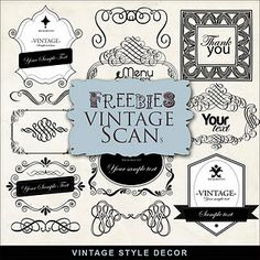 Far Far Hill - Free database of digital illustrations and papers: Freebies Vintage Kit Graphic Design Fonts, Graphic Art, Stencils, Printing Supplies, Free Digital Scrapbooking, Vintage Labels, Scrapbook Paper Crafts, Business Card Design, Decoration