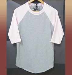 S M L Blank Raglan top pink gray baseball tshirt by WorkoutShirts