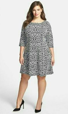 Taylor Dresses jacquard Knit Fit & Flare Dress (Plus Size) available at… Plus Size Pants, Plus Size Dresses, Plus Size Outfits, Nice Dresses, Short Dresses, Plus Size Fashion For Women, Plus Size Women, Taylor Dress, Dress Cuts