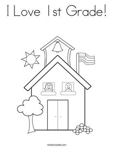 I Love 1st Grade Coloring Page from TwistyNoodle.com