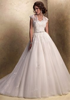 Complete Details    Silhouette: Ball Gown  Neckline: Sweetheart  Waist: Natural  Gown Length: Floor  Train Style: Attached  Sleeve Style: Cap  Fabric: Tulle  Special Features: Corset Bodice  Color: White, Ivory
