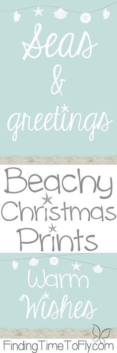Perfect for a Beachy Coastal Christmas theme! Beachy Christmas printables!
